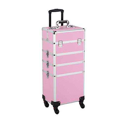 Yaheetech Proessional Travel Makeup Train Case Rolling Pink 4 in 1 Large Makeup Cosmetic Case On Wheels Makeup Organizer Storage with Dividers For Makeup Artist