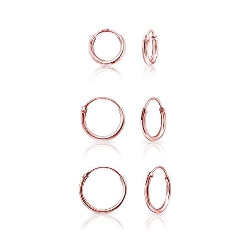 DTP Silver - Set da 3 paia di Piccoli Orecchini da donna a Cerchio - Argento 925 Placcato in Oro Rosa - Spessore 1.2 mm, Diametro 8, 10, 12 mm