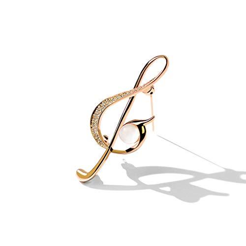 Tingting1992 Alfileres de Broche Nota Musical Broche de la Marea de Gama Alta Personalidad Temperamento Ramillete Retro Accesorios Mujer suéter Pin decoración de la joyería Broches