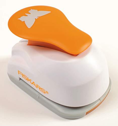 Fiskars Motiv-Hebelstanzer, Schmetterling, Ø 2,5 cm, Für Links- und Rechtshänder, Qualitäts-Stahl/Kunststoff, Weiß/Orange, Lever Punch, M, 1004648