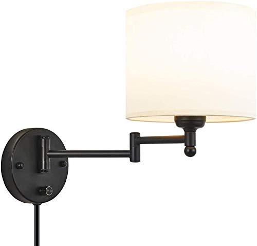 Enchufe la luz de la Pared Aplique con el Cable de alimentación del Interruptor y la lámpara de Lino de 18 cm de la lámpara del Brazo de la Pared de la lámpara de la Pared de Interior E27 Wall pa