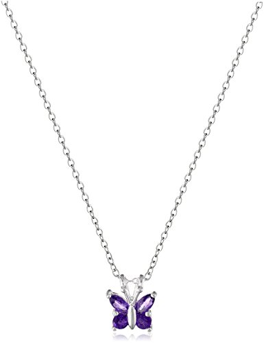 """Amazon Collection Sterling Silver Genuine Amethyst Butterfly Pendant Necklace, 18"""""""
