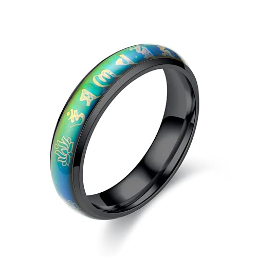 Manufacturers Directly Sell Buddhist Six-character Mantra Stainless Steel Rings Temperature-sensitive Discoloration Titanium Steel Rings Religious Ornaments Men's
