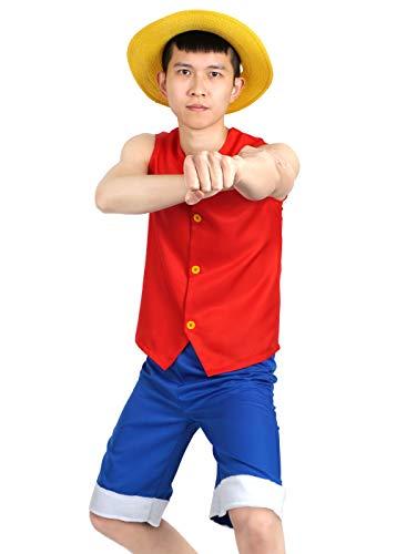 CoolChange Disfraz Cosplay de Monkey D.Luffy   con Chaleco, Pantalones Cortos y Sombrero de Paja   Talla: L