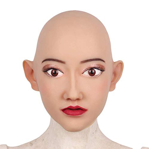 Latex Gesichtsmaske Weibliche Kopfmaske Handmade Makeup Crossdresser Halloween Cosplay Damen Reality Latex Sexy
