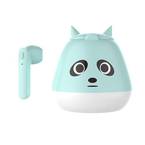 MGWA headphones TWS Wireless Earphones Bluetooth 5.0 Headset Mini Cute Cartoon Earbuds Stereo Headphones,Wireless Bluetooth Headset (Color : Green)