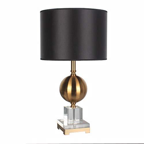 Tafellamp met individuele vormgeving, lampenkap van hoogwaardig linnen, corpus van puur kristal, hardware lampenkap van antiek koper, slaapkamer, werkkamerlamp