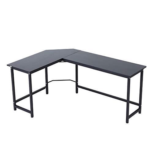 Vinsetto Computertisch Schreibtisch Eckschreibtisch höhenverstellbar Metall Schwarz 168 x 120 x 75 cm