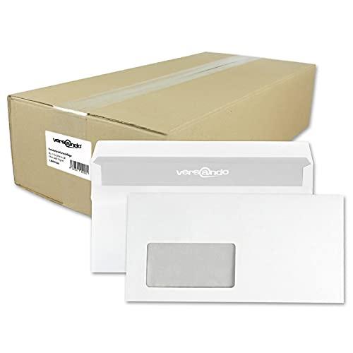 versando 1000 Briefumschläge, Versandtaschen mit Fenster, selbstklebend, DIN lang, weiß