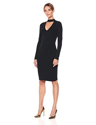 Eliza J womensEJ7M5762Sweater Dress with Choker Neck Long-Sleeve Dress - Black - Large