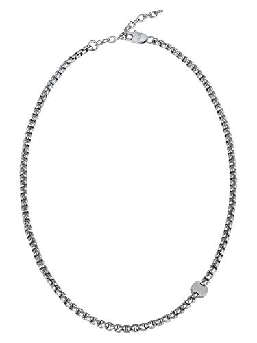 Breil- Collana da Uomo Collezione Kaleido TJ2994 - Gioielli Uomo - Collana Uomo a Catena ed Esagono in Acciaio Lucido e Satinato - 52 cm