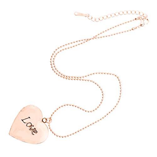 joyMerit Medallón con Foto de Corazón Que Se Puede Abrir, Collar, Encantos, Recuerdo Conmemorativo - Oro Rosa, 2.8x2.8cm