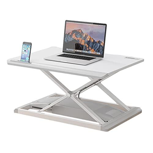 Convertidor Escritorio Pie Estación Trabajo Escritorio Sit Stand Elevador Ergonómico Doble Monitor Altura Ajustable Eléctrico Blanco para Casa Oficina