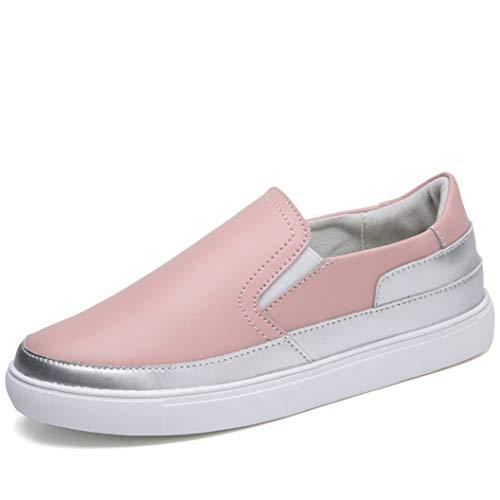 Zapatos de Mujer con Plataforma Deslizamiento Mocasines Zapatillas de Deporte de Cuero Informal Punta Redonda Zapatos de Zapatos
