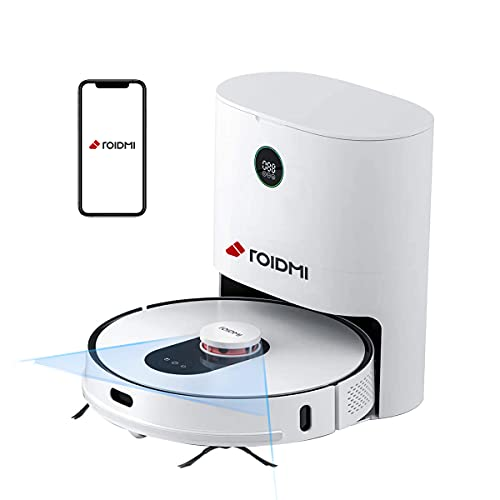 ROIDMI EVE Plus Roboterstaubsauger Mit Absaugstation,Lasernavigation, Wischfunktion, 2700Pa Leistungsstarke Saugleistung,Steuerung üBer App, Alexa und Google Assistant,Perfekt FüR Tierhaare, Teppiche
