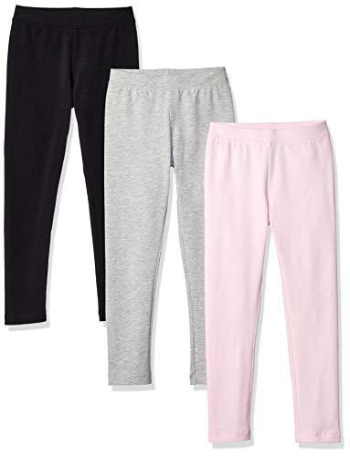 Amazon Essentials Girls' 3-Pack Leggings, Black/Heather Grey/Light Pink, M (8)
