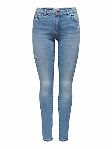 Only Onlwauw Life Mid SK DEST Bj759 Noos Jeans, Denim Light Medium Blue Denim, M para Mujer
