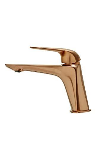 Strohm TEKA - Grifo monomando de lavabo ITACA de caño alto y sistema de ahorro de agua. Acabado bronce