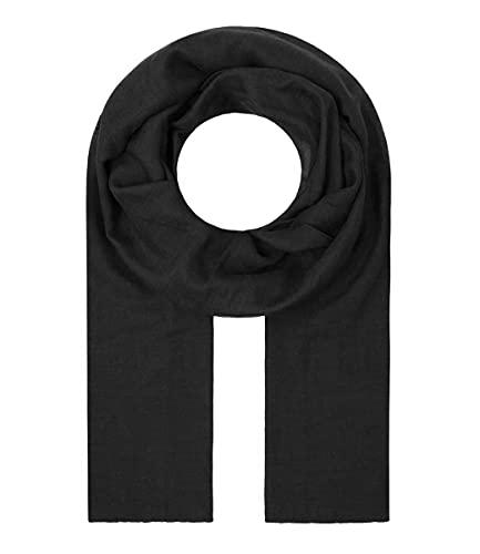 Majea Tuch Lima schmal geschnittenes Damen-Halstuch leicht uni einfarbig dünn unifarben Schal weich Sommerschal Übergangsschal, Schwarz, 180cm x 50cm