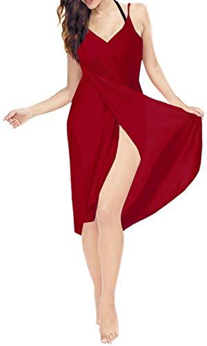 LA LEELA La Couverture du Bikini des Femmes en Robe de Spaghetti de Plage Rouge_A303 S