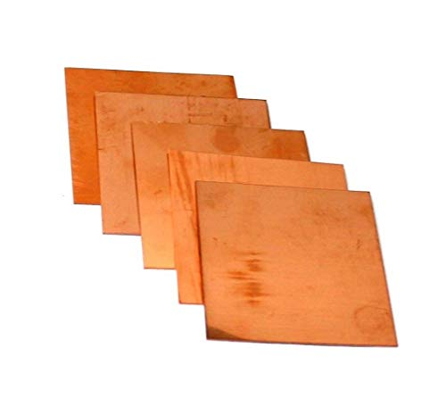 Copper Sheet Assorted Sample Pack of 5 (3' x 3') 18-20 - 22-24 - 26 Ga