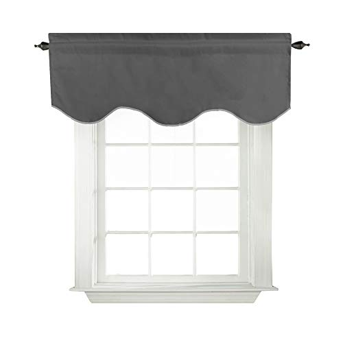 Turquoize Solid Blackout Valance, Short Curtains, Scalloped Window Treatment, Charcoal Gray, 52-inch by 18-inch, 1 Panel