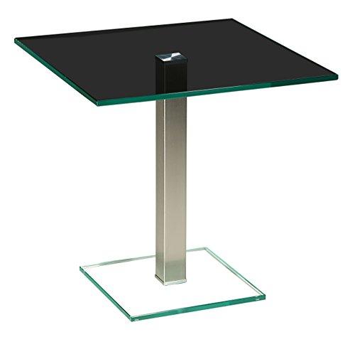tischdesign24 Perth528 Ecktisch mit 12mm Glasplatte. Stollen in 50x50mm Edelstahl gebürstet und versiegelt Parsolglas Größe: 50 x 50 cm Quadratisch Höhe: 50cm