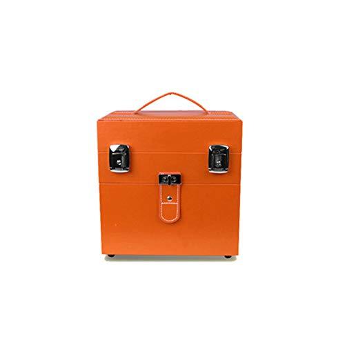 Boîte à Bijoux Sac Cosmétique Multi-Fonction Trousse à Maquillage Portable de Couleur Unie Toolbox Boîte de Rangement en métal imperméable de Mme, Orange