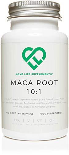 Maca Root 10: 1 Extracto de LLS | 60 cápsulas veganas x 600 mg (equivalente a 6000 mg) | Rico en vitaminas B, vitaminas C y E, calcio, zinc, hierro, magnesio, fósforo y aminoácidos