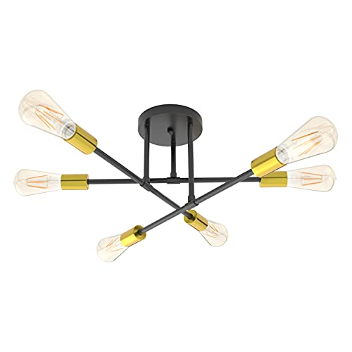 Klighten Lámpara de Techo Vintage con 6 Luces E27 Luz de techo Interior Retro Sputnik Lámpara Metal Lámpara de araña para Sala, Dormitorio, Comedor, Cocina, Bombilla no Incluida, Oro negro