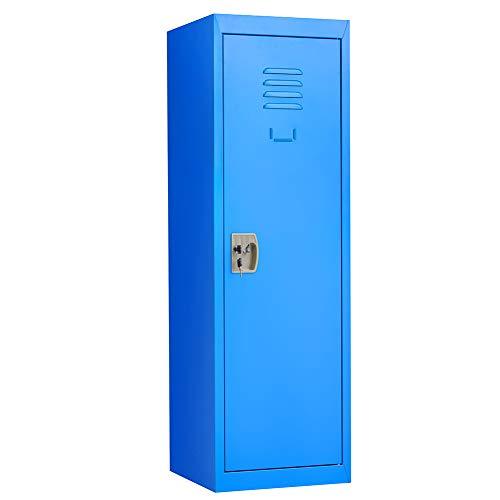 Kids Locker, Metal Storage Locker for Bedroom, Kids Room, School, Office, Home - with Key & Hanging Rods Orange