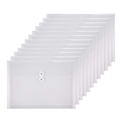 TIENO Plastic Envelopes with String Closure Clear Side Loading Folders Legal Size Paper Office Organizer 12 Packs White
