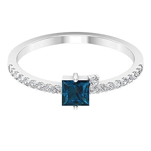 Anillo solitario de Londres de topacio azul de talla princesa de 0.45 quilates, anillo de boda de diamantes con certificación SGL de 0,15 quilates, 14K Oro blanco, topacio azul - london, Size:EU 50