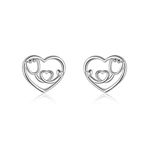 Stethoscope Earrings Nursing Themed Heart Stud Earring Sterling Silver Jewellery Gift for Nurse Gifts for Women Girls