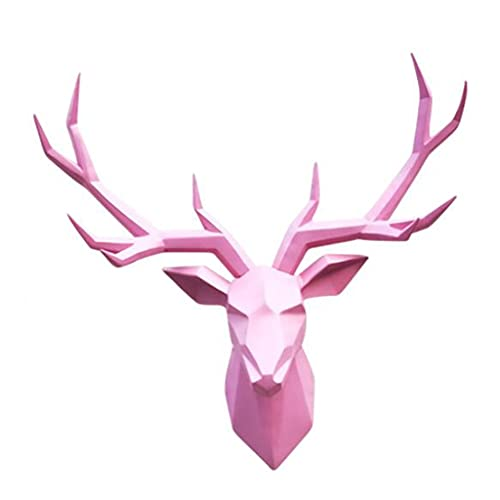 MNYHJDS Deer Head Decoration, Golden Lucky Deer Head Animal Wall Hanging Living Room Dining Room for Wall Mount Decoration, Size 20.4' X 17.7' J (Color : PINK, Size : 52 * 45CM)