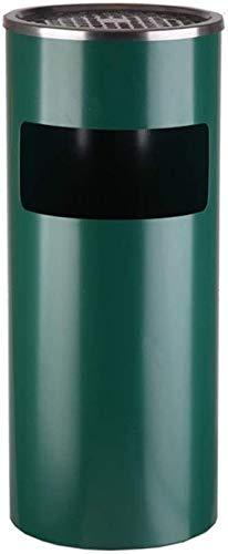 Hotellobby-vuilnisemmer, ronde, verticale multifunctionele vuilnisbak van roestvrij staal, voor tuin buiten, prullenbak (kleur: zwart, maat: 25 x 61 cm) 25 x 61 cm, groen