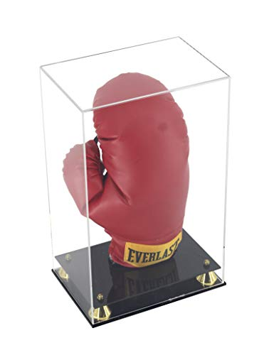 Boxing Glove Display Case Holder Showcase for Boxing Gloves, UV Protection, Elegant Riser Stand (Vertical)