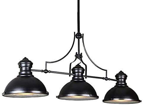 Industrial Vintage Linear Chandelier,3 Light Pendant Lighting Fixture for Pool Table Farmhouse Island Bar Retro Hanging Light Black Painted Ceiling Light Black 3 Lights