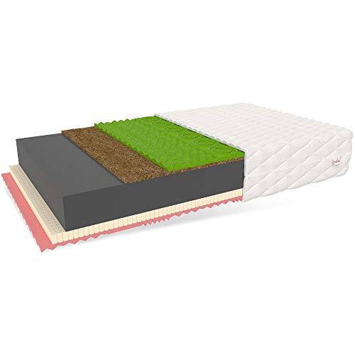 FDM Savona Schaumstoffmatratze Matratze Latex HR Schaum Kokos H4/H3 (hart/mittelhart) Höhe 22 cm Zweiseitig 80 x 200 cm