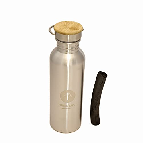 Binchotan et gourde inox 750 ml – purification charbon actif bambou- filtre chlore eau robinet - Bouteille acier inoxydable réutilisable écologique - idéal pour sport, bureau - Idée cadeau zéro déchet