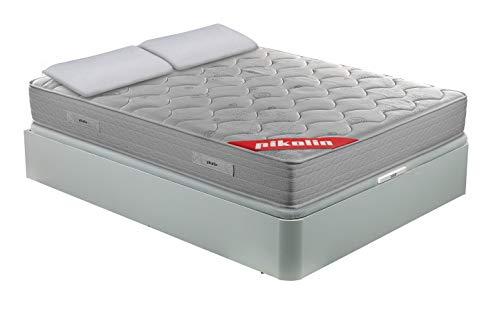 PIKOLIN Pack Colchón viscoelástico de muelles 135x190+ canapé con Base abatible Blanco y Dos Almohadas de Fibra, Incluye Subida a Domicilio, Montaje y Retirada de Usado