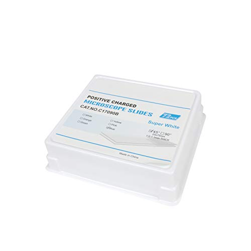 Vision Scientific VSP090B Super White Adhesive Microscope Slides | Positive Charged | Ground Edge | 45° Safety Corner | 25X75mm | Blue Frosted-(Pack of 72 PCS)