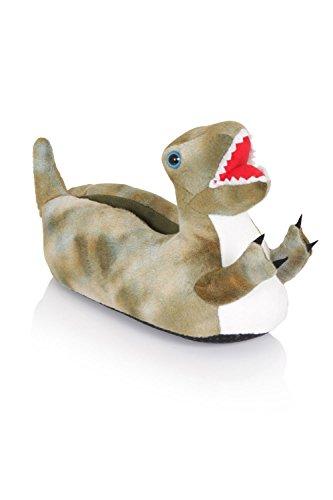 NIFTY KIDS 3D Dinosaurier weich Pantoffeln gepolstert Jungen und Mädchen NEUHEIT Schuhwerk - Green T-Rex, S