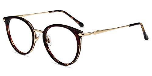 Firmoo Blaulicht Brille Entspiegelt ohne Sehstärke Damen Herren, Runde Blaulicht Computer Brille Augeschutz, Vintage PC Brille gegen Kopfschmerzen Leroparden