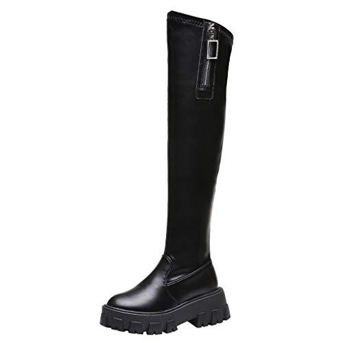 Bottes De Femme Talons Haut Sexy Boots Automne Hiver Mode Casual Chaussures Bottes Longues Bottes Fourrées Femmes Bottes Hautes Fourrure Synthétique Chaussures de Ville Bottines de Neige Noires
