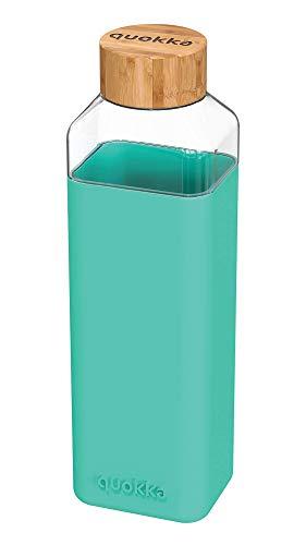 Quokka Storm - Teal 700 ML | Botella De Agua Cuadrada De Cristal Sin BPA |Botella De Agua Reutilizable De Vidrio De Borosilicato con Funda De Silicona Y Tapón De Bambú