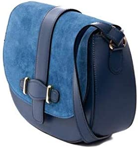 Italian Electric Blue Suede Leather Classical Hobo Calf Leather Shoulder Bag by Vittoria Pacini