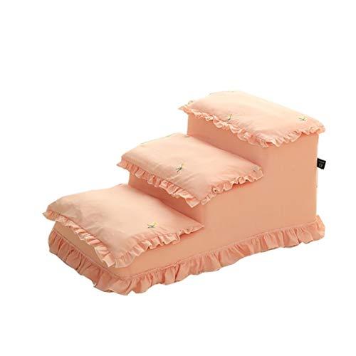 WSJF huisdier trappen hond trap kat trap hond kat stappen 3 lagen stappen roze madeliefje spons ladder op de bed ladder oprit hoog bed Bank, afneembaar, wasbaar