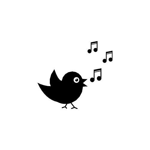 GQQ auto sticker 15Cm * 13,6 Cm cartoon grappige dier vogel zang Vinyl auto tyling auto sticker zwart/zilver Zwart