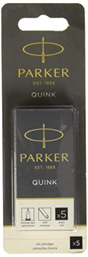 PARKER QUINK Long Fountain Pen Ink Refill Cartridges, Black, 5 Count
